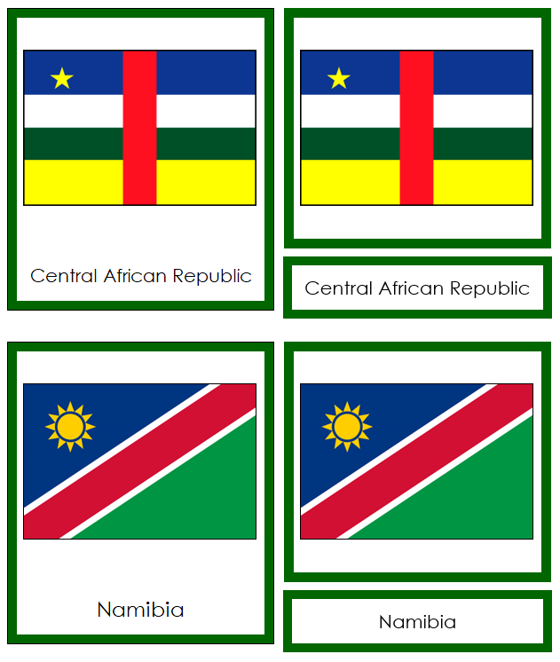 African Flags - Montessori geography cards