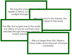 Africa Fun Facts - Montessori geography cards