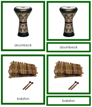 African Musical Instruments (color-coded) - Montessori Print Shop