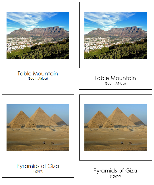 African Landmarks - Montessori geography cards