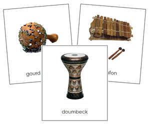 African Musical Instruments - Montessori geography cards