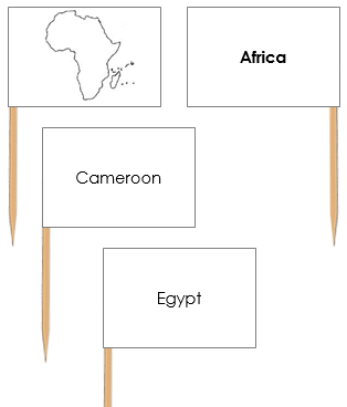 Africa Map Labels: Pin Flags - Montessori geography