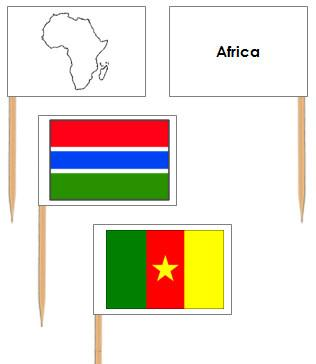African Flags: Pin Flags - Montessori geography