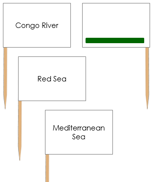 African Waterways: Pin Flags - Montessori geography
