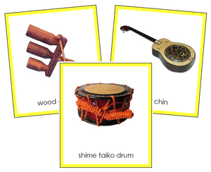 Asian Musical Instruments - Montessori continent cards