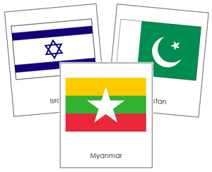 Asian Flags - Montessori continent cards
