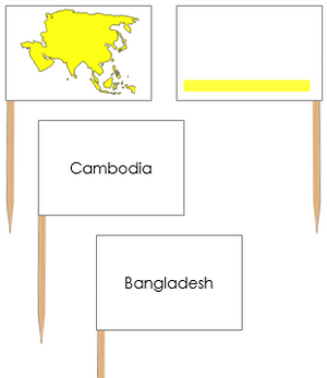 Asia Map Labels: Pin Flags - Montessori geography materials