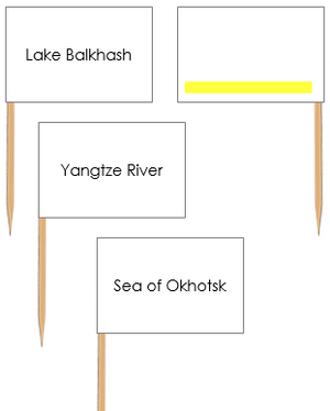 Asian Waterways: Pin Flags - Montessori geography materials