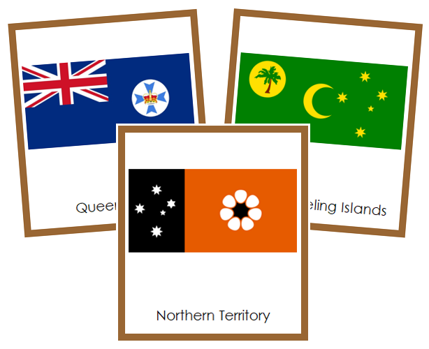 Australian Flags - Montessori geography cards