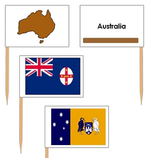 Australian Flags: Pin Flags - Montessori geography materials