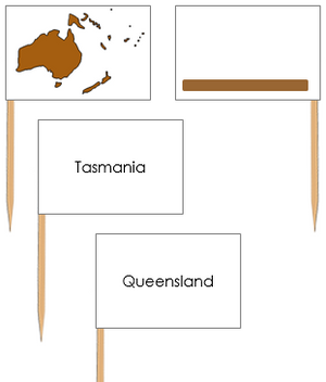 Australia Map Labels: Pin Flags - Montessori geography materials
