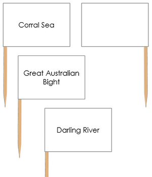 Australian Waterways: Pin Flags - Montessori geography materials