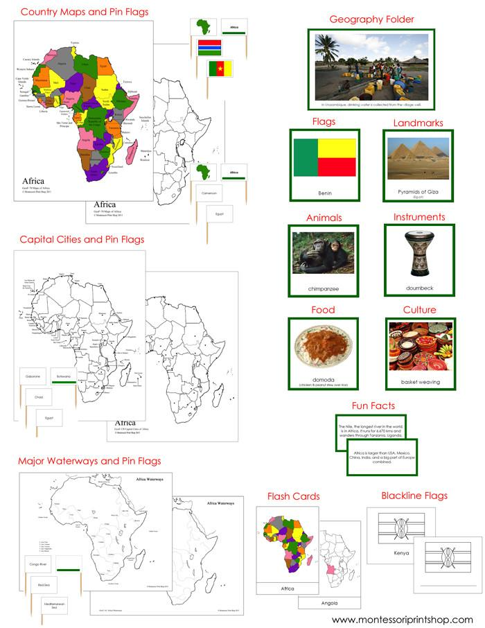 Africa Geography Deluxe Bundle - montessori geography cards and maps