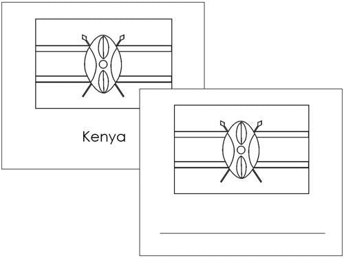 African Flags: Outlines - Montessori geography cards