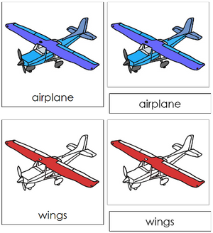 Airplane Nomenclature 3-Part Cards (red) - Montessori Print Shop