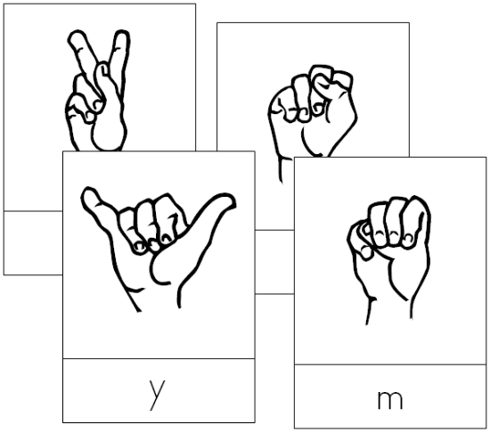 american sign language cards - Montessori Print Shop