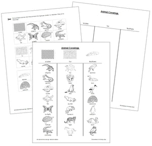 Animal Coverings Blackline Masters - Montessori Print Shop
