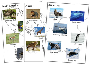 Animals of the Continents Set 1 - Montessori Print Shop