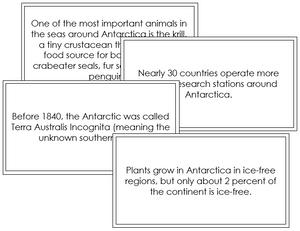 Antarctica Fun Facts - Montessori geography cards