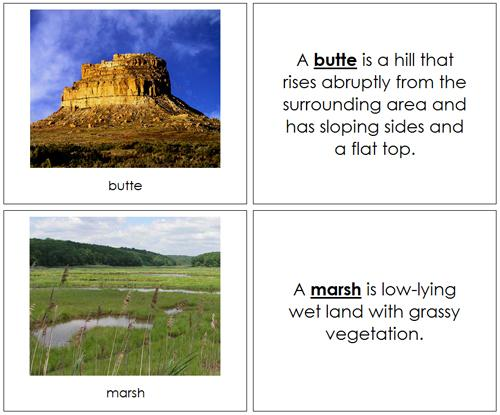 Land & Water Forms Bundle - Montessori geography cards