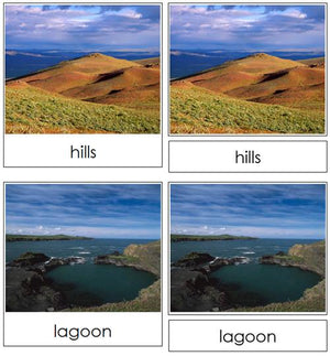 Land & Water Form Cards - Montessori geography materials