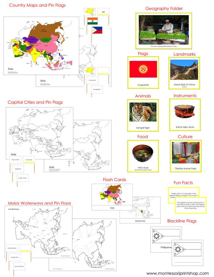 Asia Geography Deluxe Bundle - Montessori Geography Cards