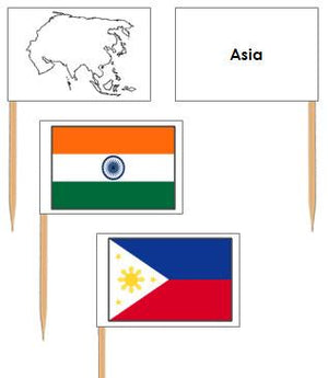 Asian Flags: Pin Flags - Montessori geography materials