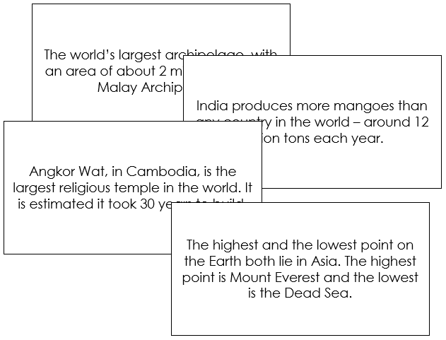 Asia Fun Facts - Montessori geography cards