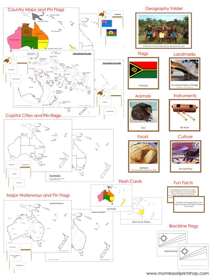 Australia/Oceania Geography Deluxe Bundle - Montessori Geography Cards