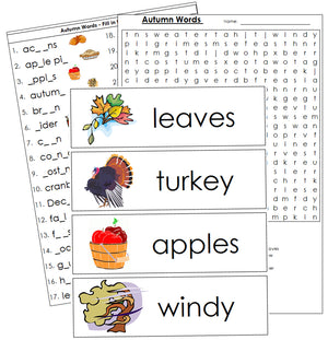 Autumn Word Wall - Montessori Print Shop