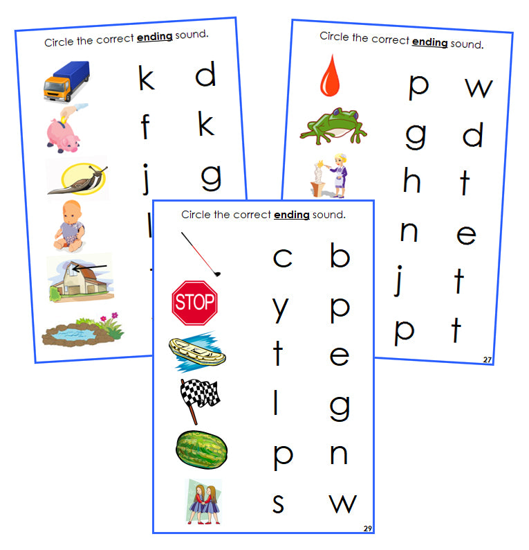 Blue Ending Sound Choice Cards - Montessori language cards - Montessori Print Shop