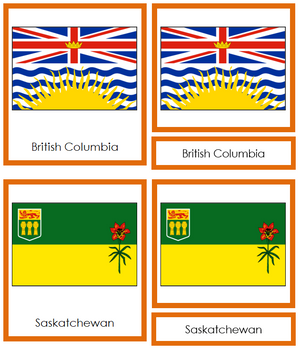 Canadian Flags - Montessori Geography Cards