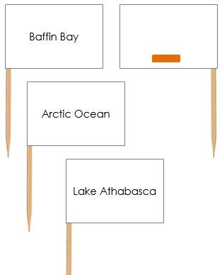 Bodies of Water in Canada Labels  - Pin Map Flags (color-coded)