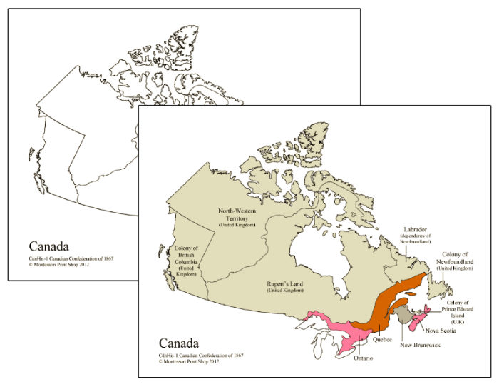 Canadian Confederation of 1867 Maps - Montessori Print Shop