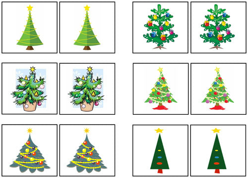 Christmas Tree Match-Up & Memory Game - Montessori Print Shop