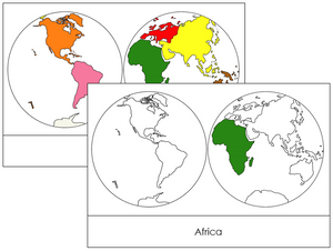 Continents by Hemisphere (color-coded) - Montessori Print Shop