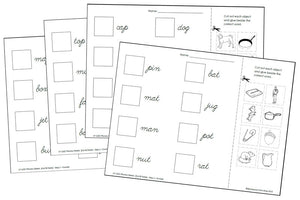 Phonetic Cut & Paste - Step 1 (cursive) - Montessori Print Shop