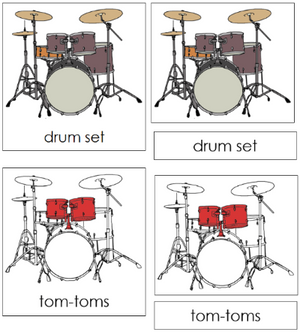 Drum Set Nomenclature Cards - Montessori
