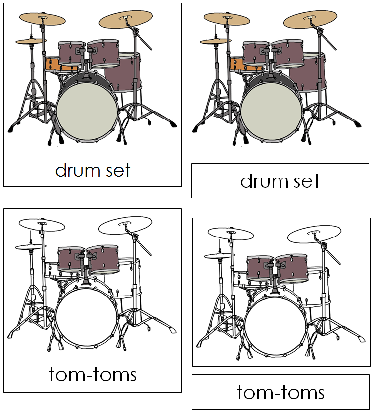 Drum Set Nomenclature Cards - Montessori Print Shop