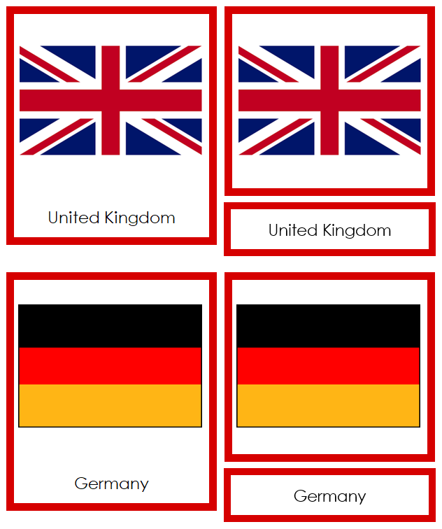 European Flags - Montessori geography cards