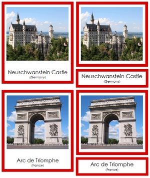 European Landmarks (color-coded) - Montessori Print Shop