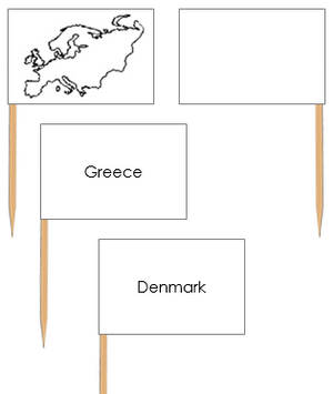 Europe Map Labels: Pin Flags - Montessori geography materials