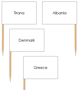 European Capital Cities Pin Flags - Montessori geography materials