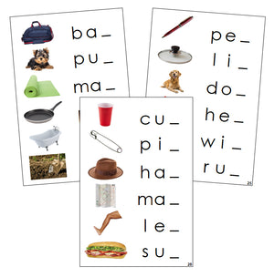Step 1: Ending Sound Cards (photos) - Montessori Print Shop phonics language program
