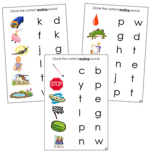 Step 2: Phonetic Ending Sound Choice Cards - Montessori phonetic language cards - Montessori Print Shop
