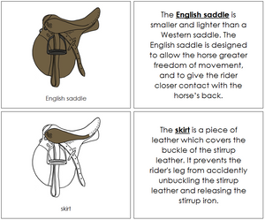 English Saddle Nomenclature Book - Montessori Print Shop