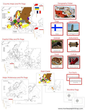 Europe Geography Deluxe Bundle - Montessori Geography Cards