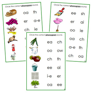 Green Phonogram Sound Choice Cards Set 1 - Montessori language cards - Montessori Print Shop