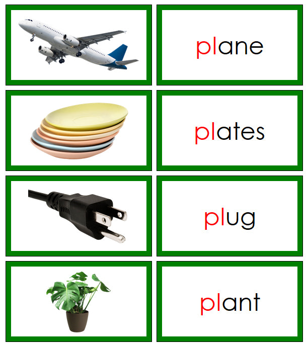 Green Blends & Digraphs - Set 1 (photos) - Montessori Print Shop phonogram language program