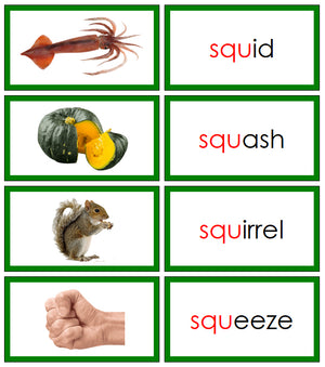 Green Blends & Digraphs - Set 2 (photos) - Montessori Print Shop phonogram language program